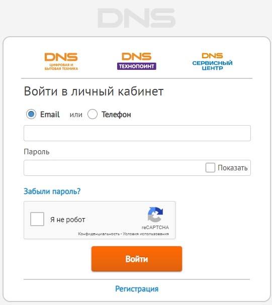 Форма для входа в личный кабинет интернет магазина ДНС