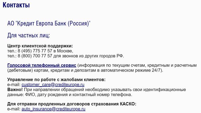 Контакты Кредит Европа Банка