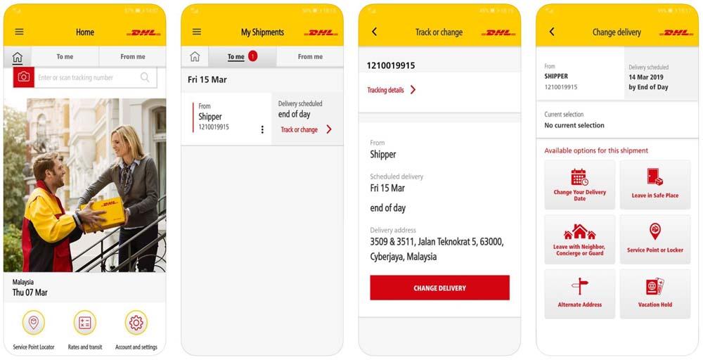 Приложение DHL снимки экрана