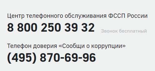 Контакты ФССП