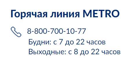 Контакты METRO