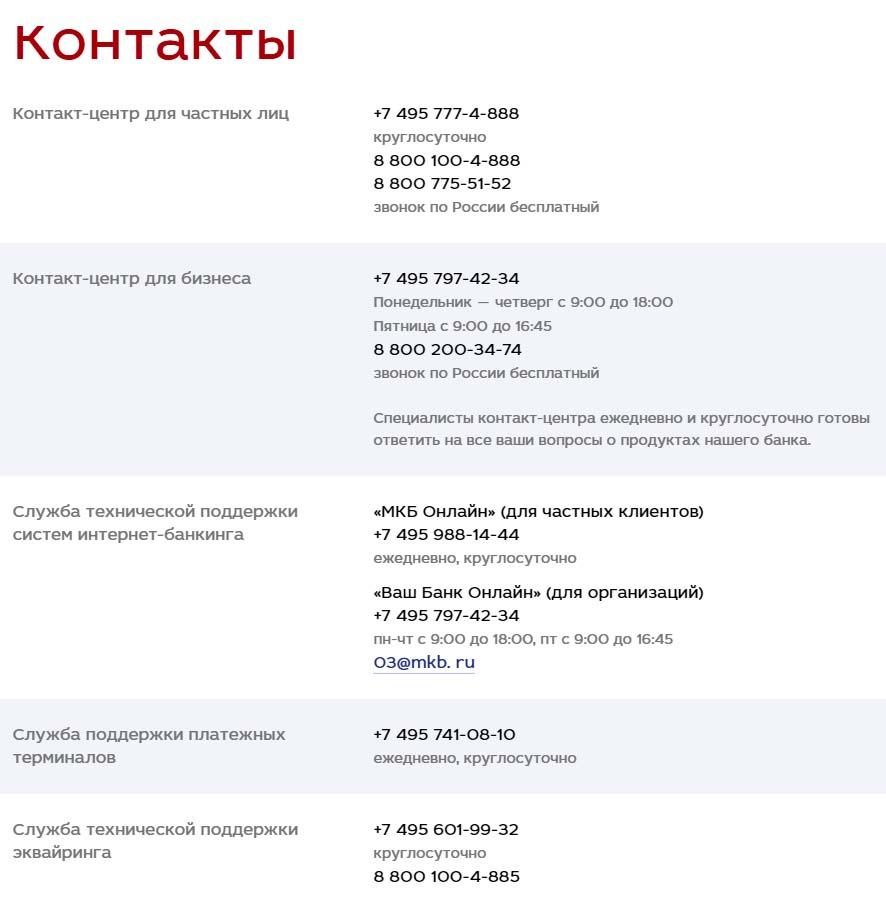 Контакты МКБ