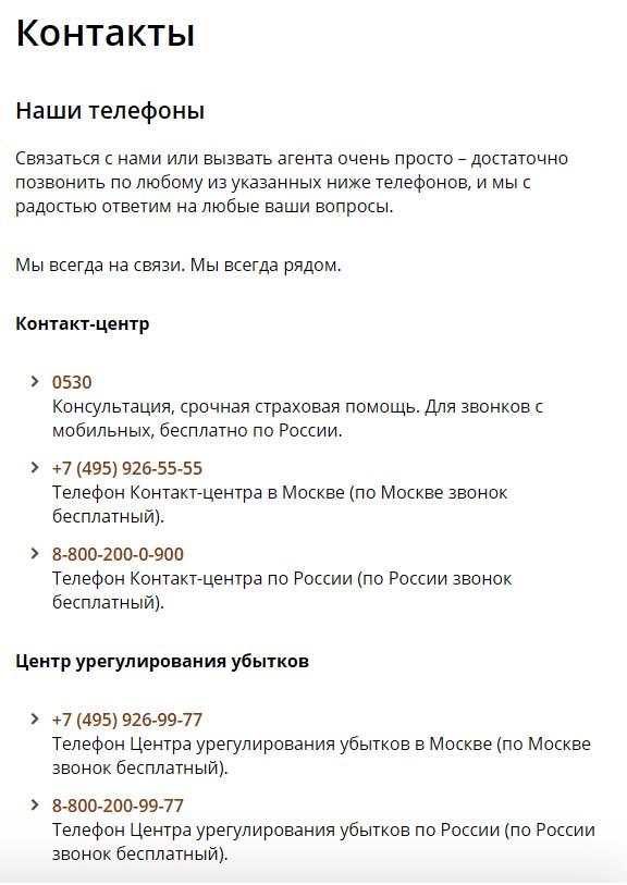Контакты Росгосстрах