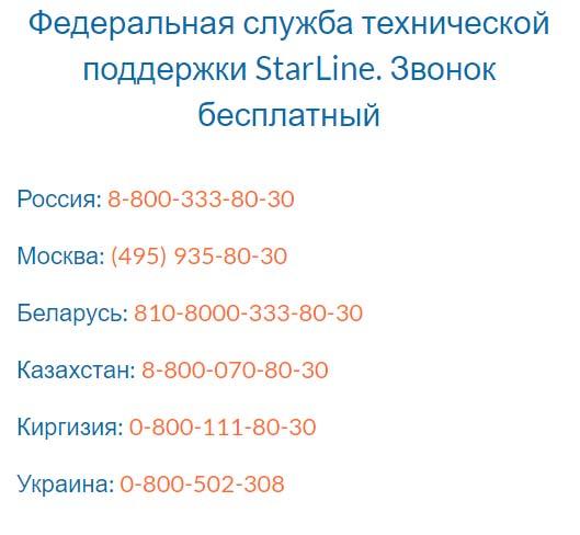 Контакты СтарЛайн