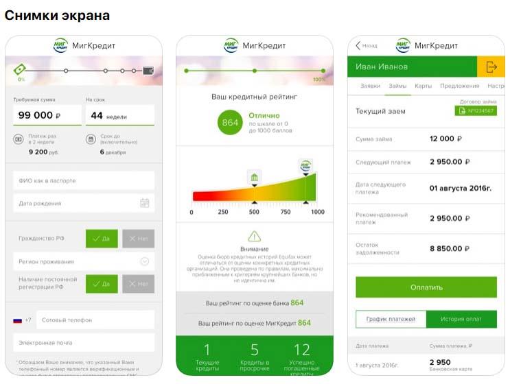 Приложение Миг Кредит, снимки экрана