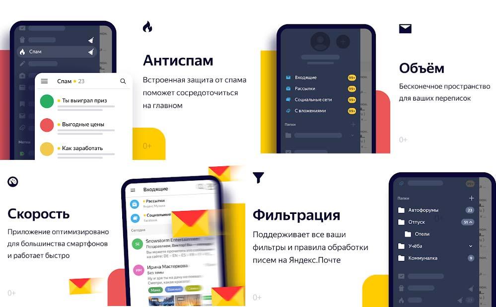 Приложение Яндекс Почта, снимки экрана