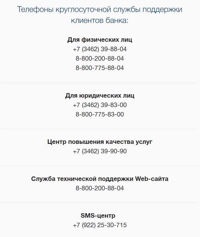 Телефоны круглосуточной службы поддержки клиентов банка