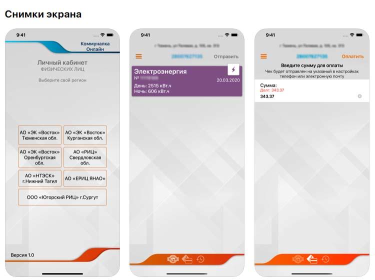 Приложение Коммуналка Онлайн, снимки экрана