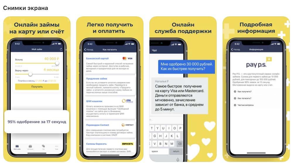 Приложение PayPS, снимки экрана